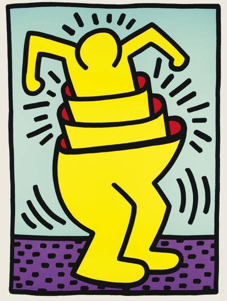 Keith Haring-Untitled [Concentric Man, Cup Man] (Littmann Pp. 116-117)-1989