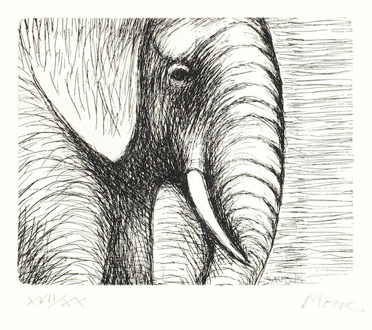 Henry Moore-Elephant's Head, from Animals in the Zoo-1981