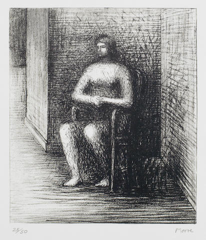 Henry Moore-Seated Figure VI Alcove Corner-1974