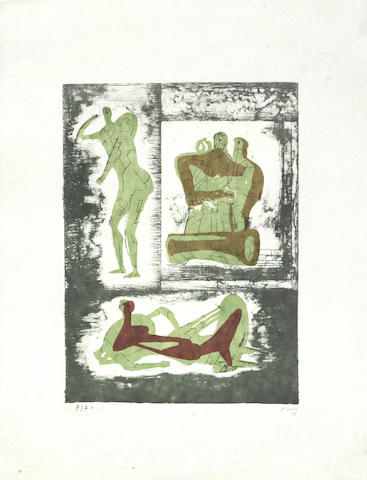 Henry Moore-Reclining and Standing Figure and Family Group; Pallas Heads-1973