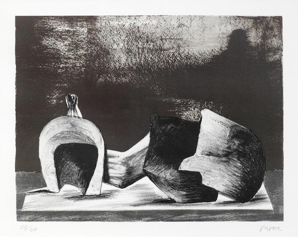 Henry Moore-Reclining Figure with Interior Setting II-1977
