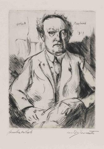 Lovis Corinth-Collection of Five Etchings, Drypoints and a Lithograph (Gerhart Hauptmann, Selbstbildnis: Brustbild ohne Arme, Entfuhrung, Faun und Nymphe, Frauenraub III)-1917