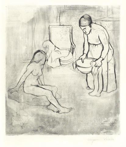 Suzanne Valadon-Grand Mere et Louise Assise a la Terre; Charles Francois Daubigny - Clair de Lune a Valmondois-1910
