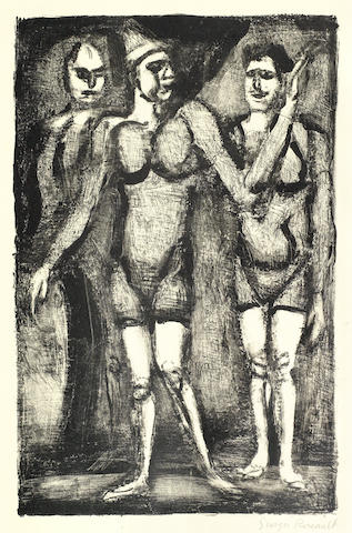 Georges Rouault-Three Lithographs (Lutteuse, Bonimont du Clown, Parade)-1929