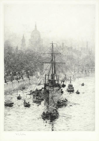 William Lionel Wyllie-A Collection (The City of London from Waterloo Bridge, Northampton, off the Temple and 5th Battle Squadron in the North Sea)-