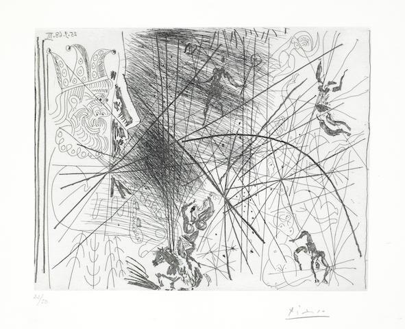 Pablo Picasso-Vieux Bouffon Contemplant des Acrobates I (Plate 335), from 347 Series-1968