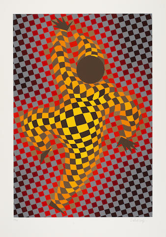Victor Vasarely-Two Plates, from Figurative-1987
