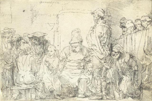 Rembrandt van Rijn-Christ seated disputing with the doctors-1654