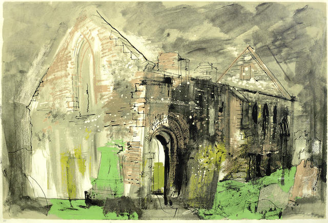 John Piper-Whithorne Priory, from Five Scottish Chapels (in ruins)-1975