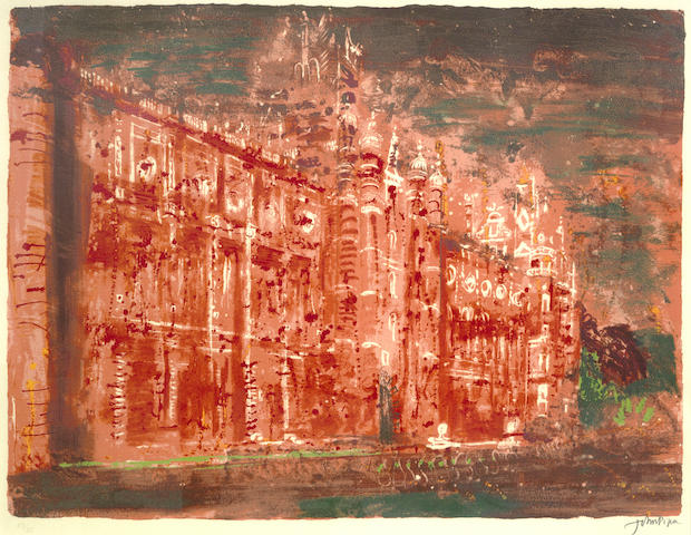John Piper-The Royal Holloway College, from Victorian Dream Palaces-1977