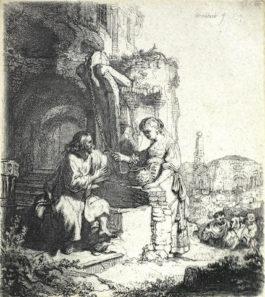 Rembrandt van Rijn-Christ and the woman of Samaria among ruins-1634
