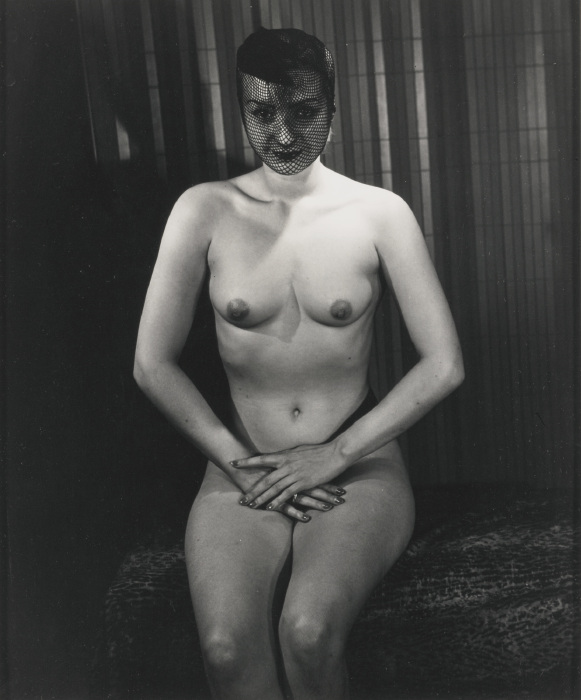 Weegee-Seated Nude With Fishnet Veil-1940