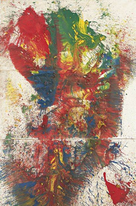 Shozo Shimamoto-Untitled (Triptych)-1999