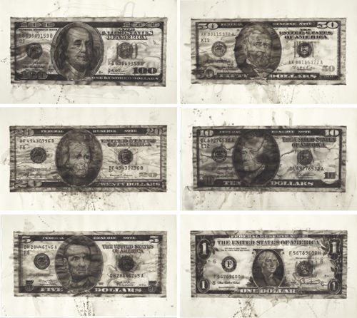 Yan Pei-Ming-American Dollars (Six Works)-2007