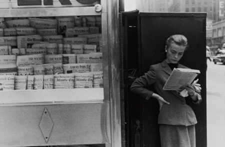 Louis Stettner-Elbowing Out Of Town Newstand, Ny-1954