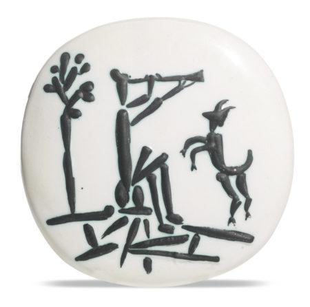 Pablo Picasso-Joueur De Flute Et Chevre (A. R. 382)-1956