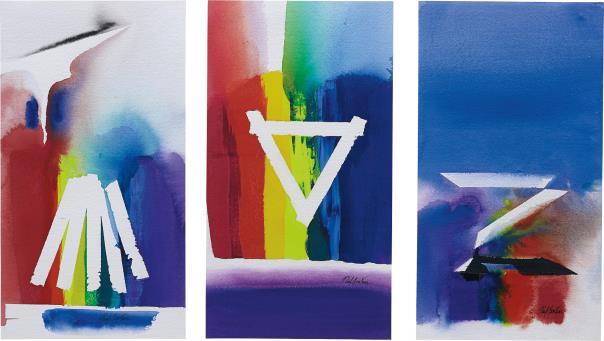 Paul Jenkins-Triptychon: Prism Venus-1985