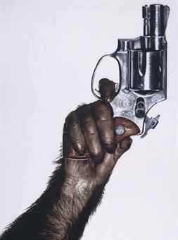 Albert Watson-Monkey with Gun, New York City-1992