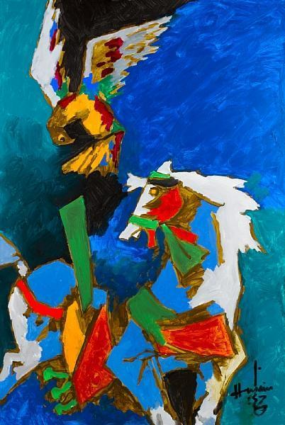 Maqbool Fida Husain-The Falcon and the Horse-