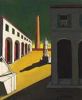Giorgio de Chirico-Piazza d'Italia con uomo politico (Italian square with a politician)-