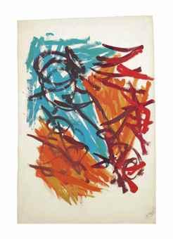 Karel Appel-Untitled (Design for Fabric)-1958