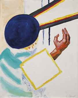 Roger Raveel-Untitled (Hand en Blauw Vierkant (Hand and Blue Square))-1979