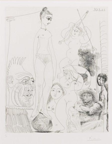 Pablo Picasso-Autoportrait Transpose Et Dedouble Revant Au Cirque, Avec Jacqueline En Acrobate A La Boule (B. 1489; Ba. 1504)-1968