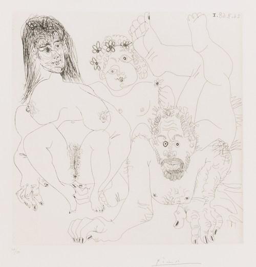 Pablo Picasso-Couple Aux Champs, Avec Un Putto Couronne De Fleurs (B. 1697; Ba. 1713)-1968
