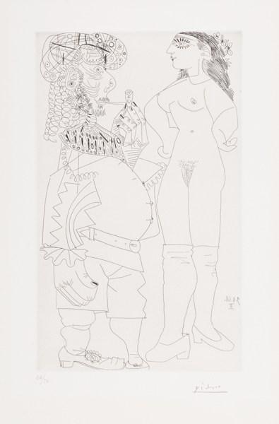 Pablo Picasso-Vieux Marin Bedonnant A La Pipe Et Jeune Prostituee Meprisante (B. 1741; Ba. 1758)-1968