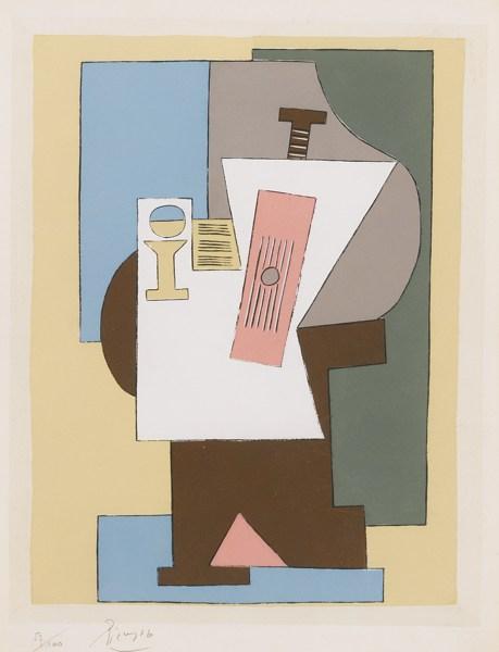 Pablo Picasso-After Pablo Picasso - Guitare Et Partition Sur Gueridon-1920