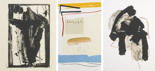 Robert Motherwell-Easter Day 1979; America-La France Variations III; Calligraphy I (Walker Art Center 244, 331 & 490)-1980