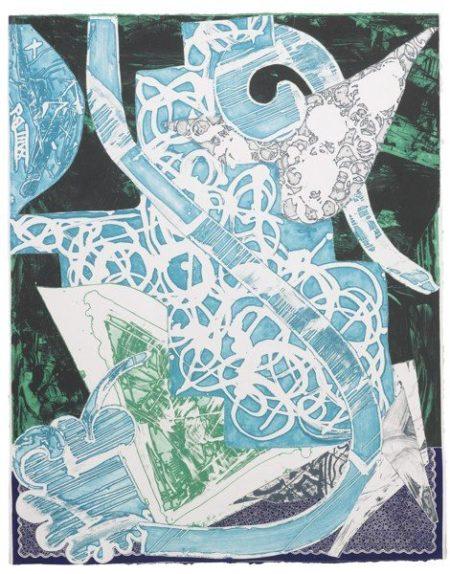 Frank Stella-Swan Engraving Blue, Green, Grey (A. 173)-1984