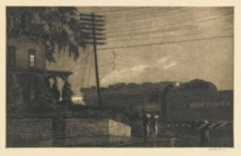 Martin Lewis-The Passing Freight, Danbury (M. 108)-1934