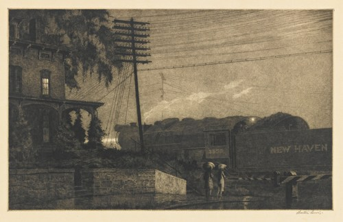 Martin Lewis-The Passing Freight, Danbury (M. 108)-1934