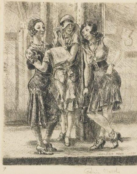 Reginald Marsh-Three Girls On Subway Platform (Sasowsky 92)-1930