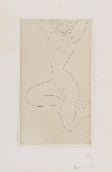 Henri Matisse-Nu Assis Sur La Jambe Droite, Bras Leves (Duthuit 226)-1931