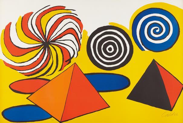 Alexander Calder-Untitled (Pinwheels And Pyramids)-1970