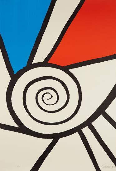 Alexander Calder-Spirale Rouge Et Bleu-1969