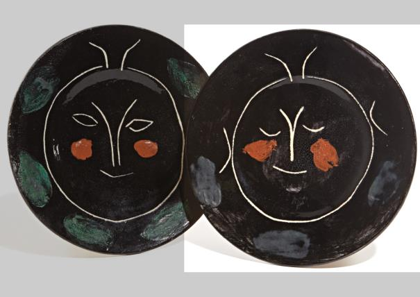Pablo Picasso-Service Visage Noir (Black Face Service): Plate A-1948