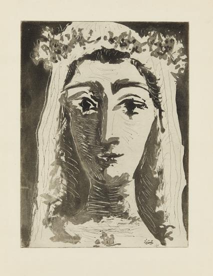 Pablo Picasso-Jacqueline En Mariee, De Face I (Jacqueline As A Bride, Frontal View I)-1961