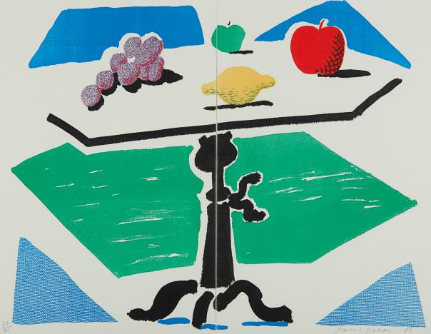 David Hockney-Apples, Grapes And Lemon On A Table, From Brooklyn Academy Of Music-1988