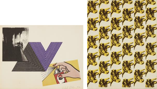 Richard Pettibone-Appropriation Print (With Andy Warhol, Frank Stella And Roy Lichtenstein); And Warhol Cow Wallpaper-1971