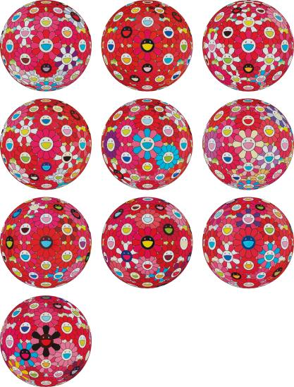 Takashi Murakami-Flowerball (3D) - Turn Red!; Flowerball (3D) - Red Ball; Flowerball (3D) - Papyrus; Flowerball (3D) - Blue, Red; Flowerball (3D) Red, Pink, Blue; Comprehending The 51St Dimension; Groping For The Truth; Letter To Picasso; Hey! You! Do You Feel What I Feel?; And There Is Nothing Eternal In This World. That Is Why You Are Beautiful-2014