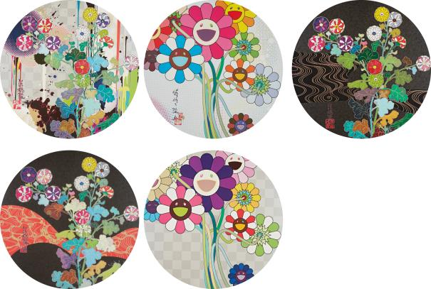 Takashi Murakami-With Reverence, I Lay Myself Before You - Korin - Chrysanthemum; Even The Digital Realm Has Flowers To Offer!; Purple Flowers In A Bouquet; Kansei: Skulls; And Kansei: Fresh Blood-2014