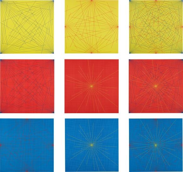 Sol LeWitt-Lines In Color On Color From Corners Sides And Centers To Specific Points On A Grid-1978