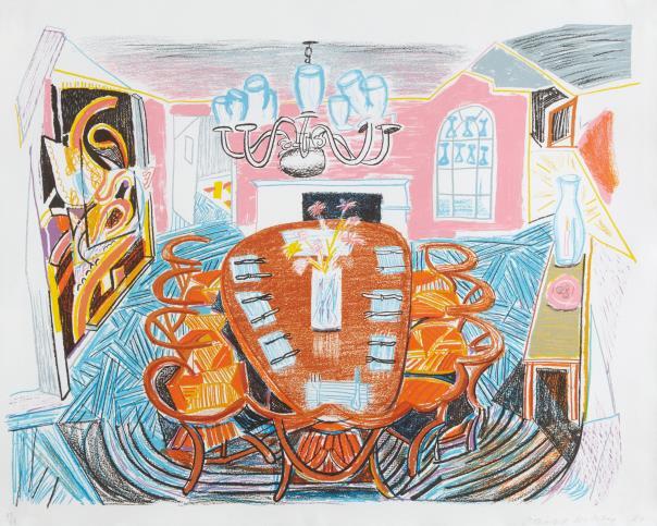 David Hockney-Tyler Dining Room, From Moving Focus Series-1985