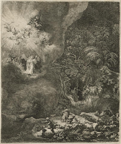 Rembrandt van Rijn-The Angel Appearing to the Shepherds-1634