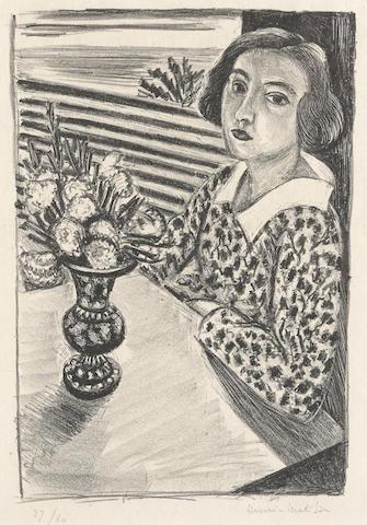 Henri Matisse-Jeune Fille assise au Bouquet de Fleurs-1923