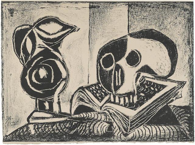 Pablo Picasso-Le Pichet noir et la tete de mort-1946