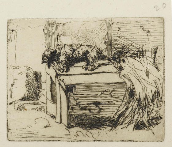 James Abbott McNeill Whistler-The Dog on the Kennel-1858